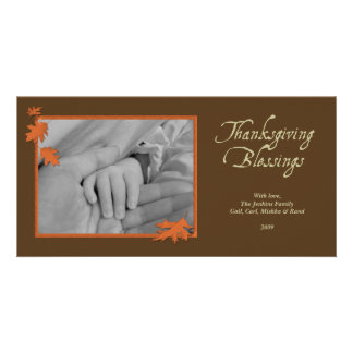 Elegant brown orange falling leaves Thanksgiving Card