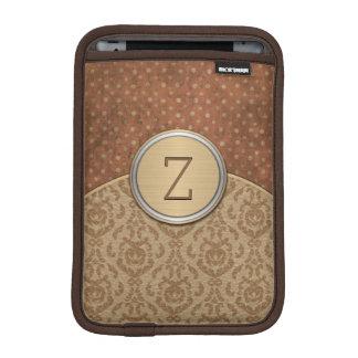 Elegant Brown Orange Monogram iPad Mini Sleeve