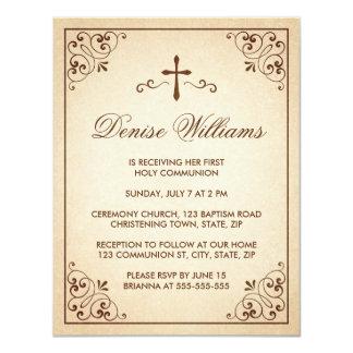 Elegant brown ornate frame first communion invite