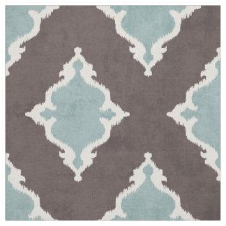 elegant brown turquoise damask ikat tribal pattern fabric