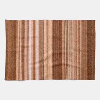 Elegant brown, white, cream stripes towels