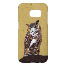 Elegant Brown White Owl Standing on Tree Stump Samsung Galaxy S7 Case