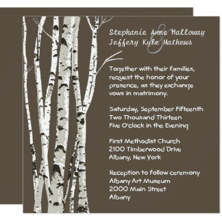 White Birch Wedding Invitations Announcements Zazzle