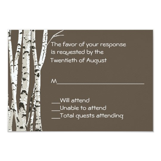 Elegant Brown with Birch Trees Wedding RSVP Card