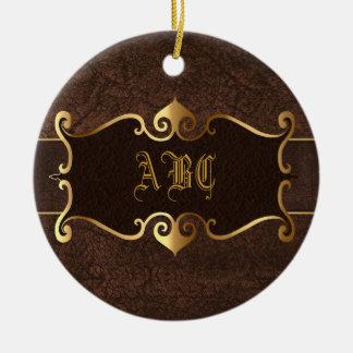 Elegant brown with golden frame monogram christmas tree ornaments
