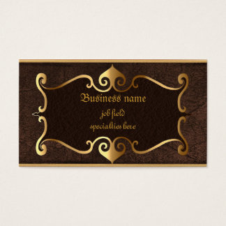 Elegant brown with golden framed self employed business card