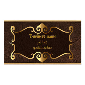Elegant brown with golden framed self employed Double-Sided standard business cards (Pack of 100)