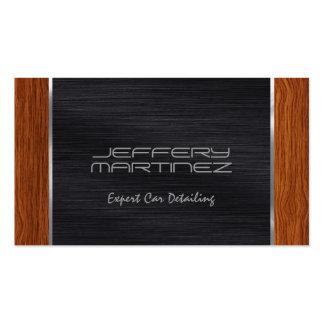 Elegant Brown Wood, Metallic Black & Silver Business Card
