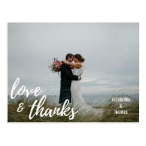 Elegant Brush Script LOVE & THANKS  w/ PHOTO Postcard