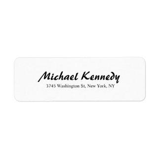 Elegant Brush Script Plain Black White Legible Label