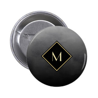 Elegant Brushed Black With Simple Gold Monogram Button