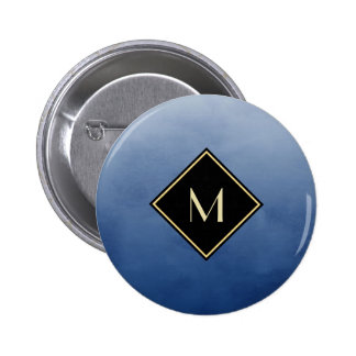 Elegant Brushed Blue With Simple Gold Monogram Button