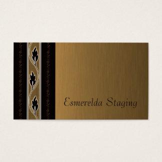 Elegant Brushed Gold Linen Vine Flower Stripe Business Card