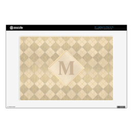 Elegant Brushed Gold Metal Look Argyle Pattern Skin For Laptop