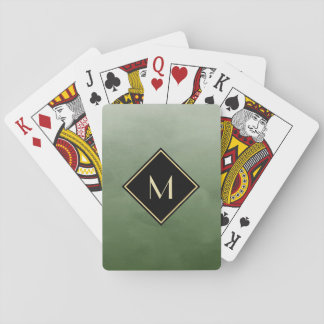 Elegant Brushed Green With Simple Gold Monogram Playing Cards