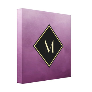 Elegant Brushed Purple With Simple Gold Monogram Canvas Print