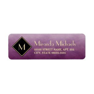 Elegant Brushed Purple With Simple Gold Monogram Label