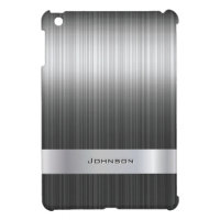 Elegant Brushed Steel Metal with Silver Bar | iPad Mini Case
