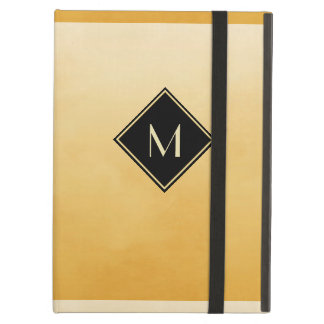 Elegant Brushed Yellow With Simple Gold Monogram Cover For iPad Air