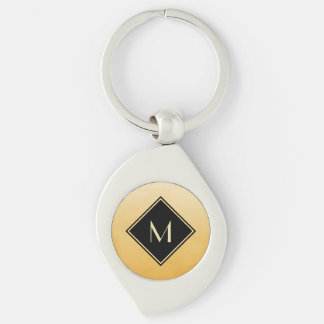Elegant Brushed Yellow With Simple Gold Monogram Keychain