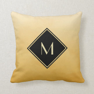 Elegant Brushed Yellow With Simple Gold Monogram Pillow