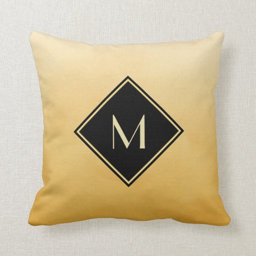Elegant Brushed Yellow With Simple Gold Monogram Throw Pillow Zazzle