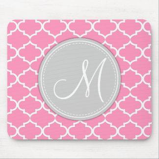 Elegant Bubblegum Pink Quatrefoil with Monogram Mouse Pad