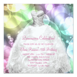 Elegant Bubbles Pink and Purple Quinceanera Card