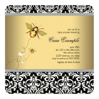 Elegant Bumble Bee Baby Shower Card