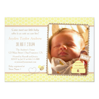 Elegant Bumble Bee Baby Shower Invitations