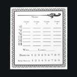 "Elegant Bunco Score Sheet Notepad<br><div class=""desc"">Here is an attractive Bunco Score Pad to use at your next Bunco event. Features easy to read text,  includes Baby Buncos,  Bunco,  WIns and Losses.  Dice are featured to help you with your round scoring.  Look at my &quot;what number are we on&quot; design in my store.  Artiinspired</div>"