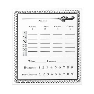 Elegant Bunco Score Sheet Notepad