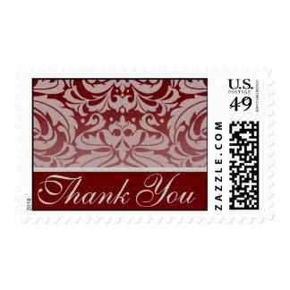 Elegant Burgandy Damask Thank You Postage Stamp
