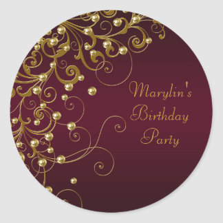 Elegant Burgindy and Gold Swirl Stickers