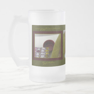 Elegant Burgundy Chartreuse Tea Cozy Frosted Mug