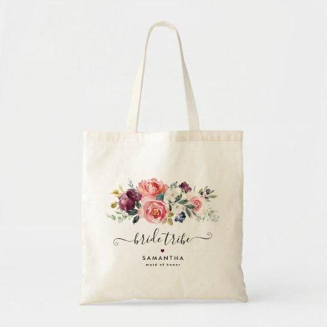 Elegant Burgundy Coral Peach Floral Bridal Party Tote Bag