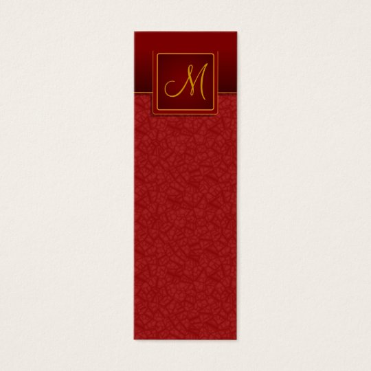 Elegant Burgundy Crackle Finish Bookmark Mini Business Card