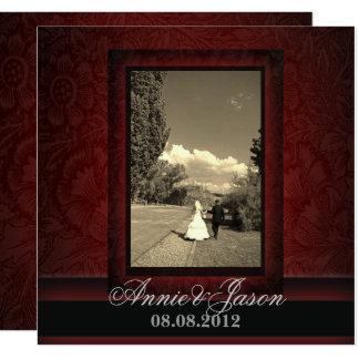 Elegant burgundy damask photo Wedding Invitation