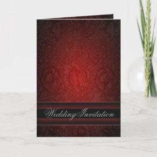 Elegant burgundy damask vintage Wedding Invitation