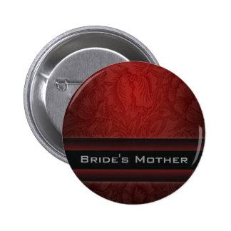 Elegant burgundy damask vintage Wedding Pinback Button