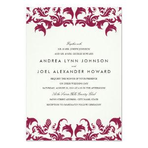Elegant Burgundy Damask Wedding Invitation 5