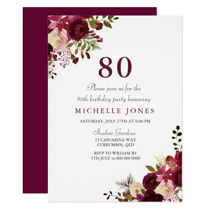 Elegant Burgundy Fl 80th Birthday
