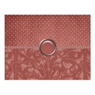 Elegant Burgundy Floral and Dot Postcard