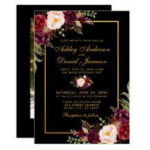 Burgundy Black Wedding Invitations Zazzle