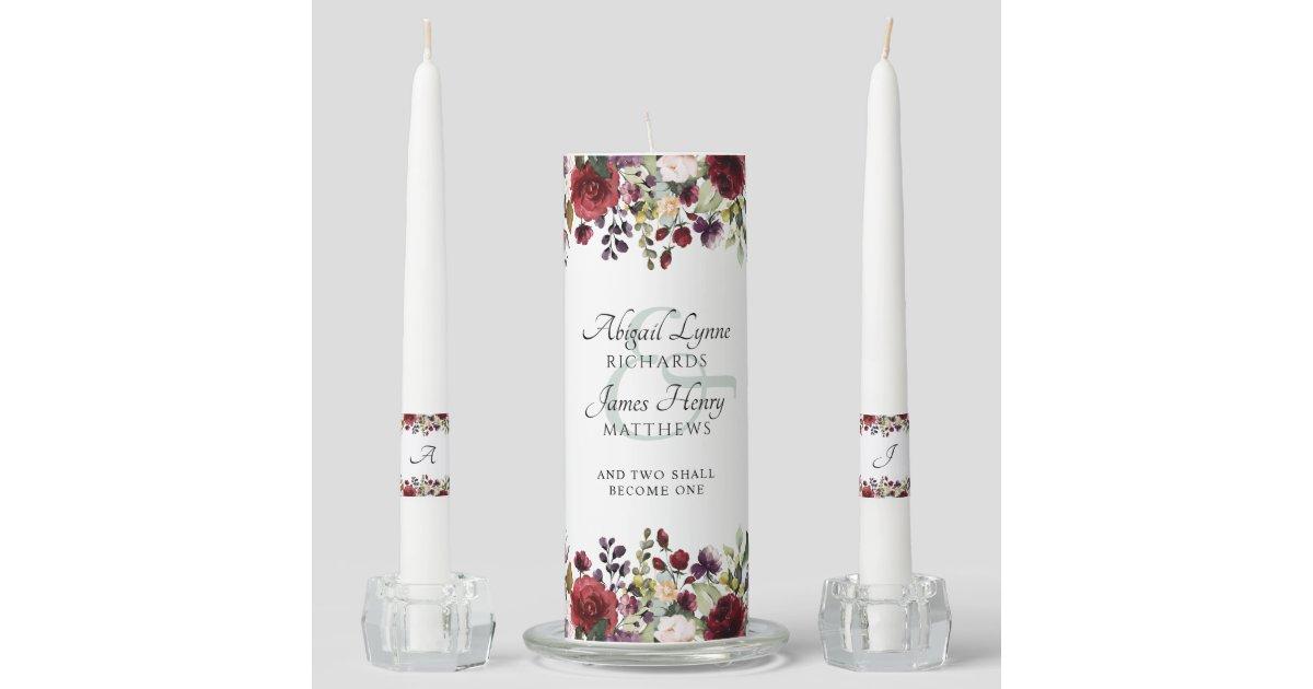 Elegant Burgundy Floral Bride & Groom Monogram Unity