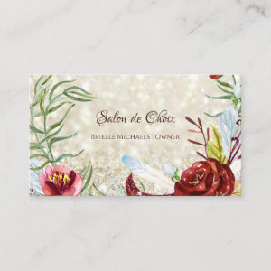 Elegant Burgundy Floral Gold Glitter Beauty Salon Business Card