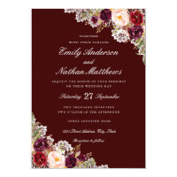 Elegant Burgundy Floral Lace Wedding Invitation