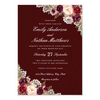 Elegant Burgundy Floral Lace Wedding Invitation