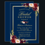 """Elegant Burgundy Floral Navy Blue Bridal Shower Card<br><div class=""""desc"""">================= ABOUT THIS DESIGN ================= Elegant Burgundy Floral Navy Blue Bridal Shower Invitation. (1) For further customization, please click the &quot;Customize&quot; button and use our design tool to modify this template. The background color is changeable. All text style, colors, sizes can also be modified to fit your needs. (2) If...</div>"""