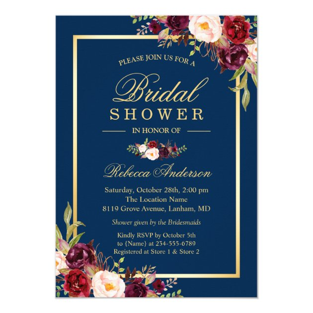 Elegant Burgundy Floral Navy Blue Bridal Shower Card (back side)